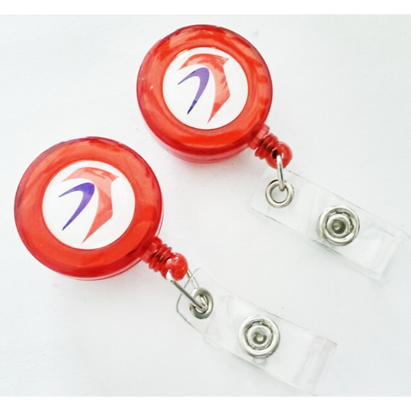 Red Transparent Retractable Round Badge Holder