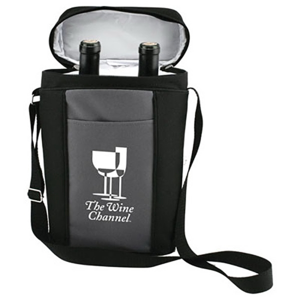 Double Wine Bottle Insulated Bag - Insulated wine tote accommodates two standard size bottles of wine