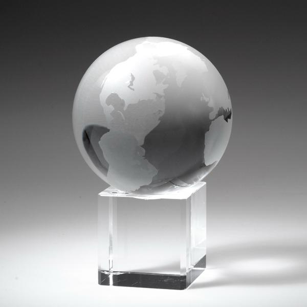 "Award- Crystal Globe on Cube 3-3/8"""