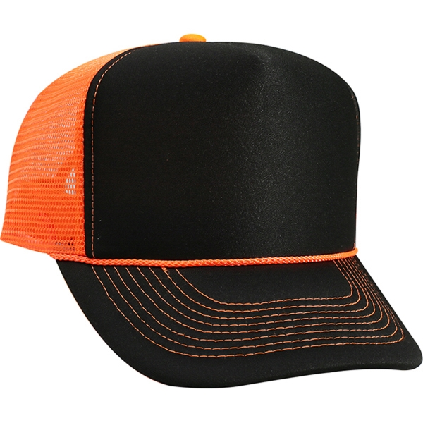 Neon 5 Panel Contrast Stitching Foam Front Mesh Back Hat
