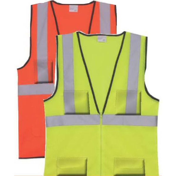 S/M Yellow Solid Zipper Safety Vest