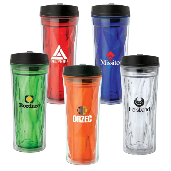 16 oz Double Wall AS Tumbler - Multi-faceted double wall tumbler with spill proof flip up lid.
