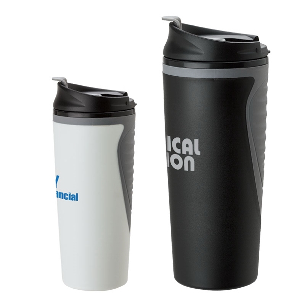 16 oz PP/TPR Tumbler - Two-tone soft comfort grip tumbler with flip up sipper lid.
