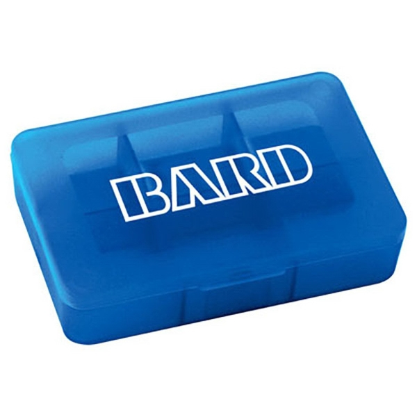 Pill Case - Rectangular pill case has six compartments for various medications.