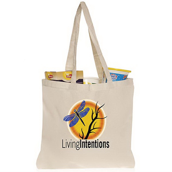 "5 oz. Natural Cotton Tote Bags with 26"" Handles"