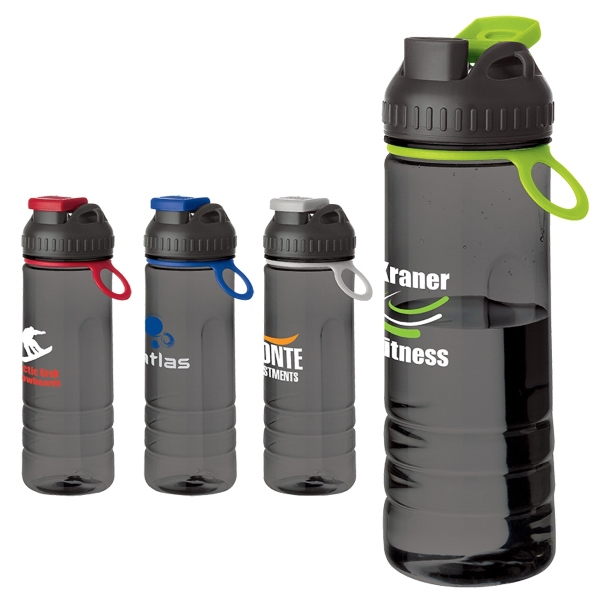 24 oz Tritan (TM) water bottle - Smoky translucent body water bottle with colored flip top/band with carry tab.