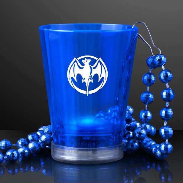 Light Up Blue Shot Glass on Blue Party Bead Necklaces