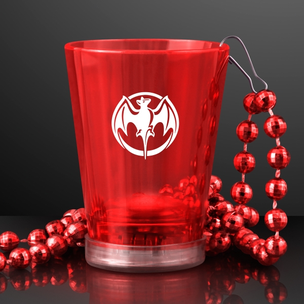Light Up Red Shot Glass on Red Party Bead Necklaces