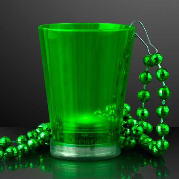 Light Up Green Shot Glass on Green Party Bead Necklaces
