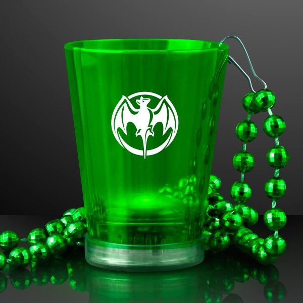 Light Up Green Shot Glass on Green Bead Necklace