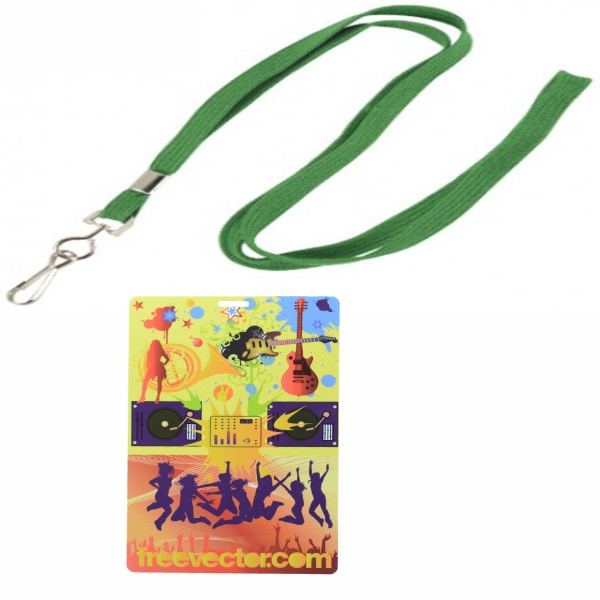Flat Blank Lanyard with PVC Plastic Credential Badge