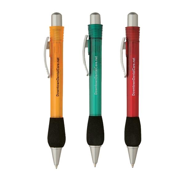Translucent Big Pocket Clip with Comfort Grip Pen