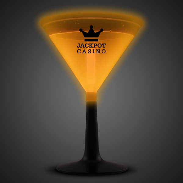 Orange 9 oz. Light Up Glow Martini Glass