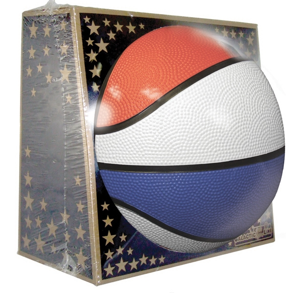 Full Size Rubber Basketball - Red, White, Blue
