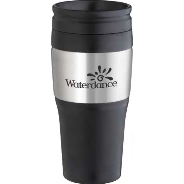2-Tone Stainless Tumbler with Plastic Lid - 16 Oz.