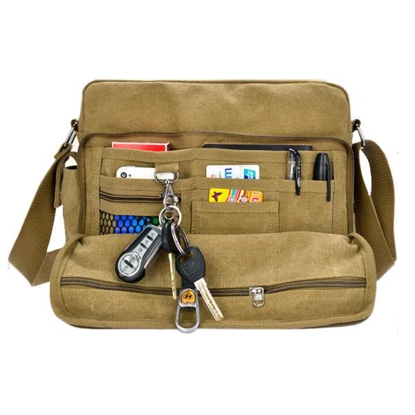 Multi functional pockets canvas bag