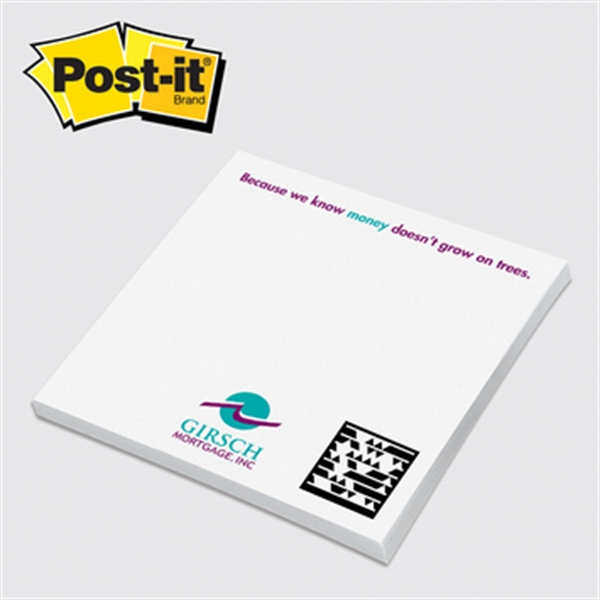 "Post-it(R) Custom Printed Notepad - Post-it Notes - 4"" x 4"", 50 sheets, 1 color - custom printed notepads."