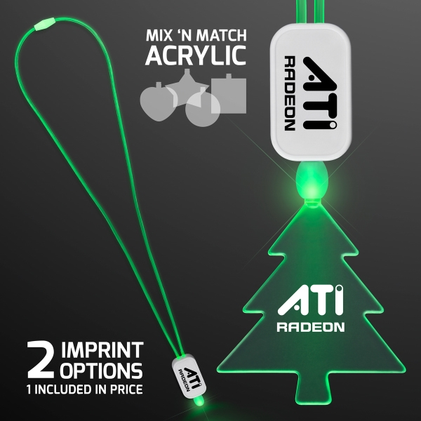 LED Neon Green Lanyard with Acrylic Tree Pendant