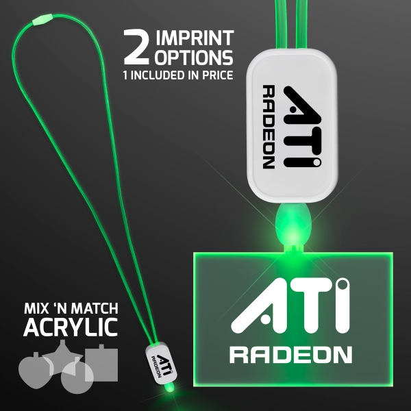 LED Green Lanyard with Acrylic Rectangle Pendant