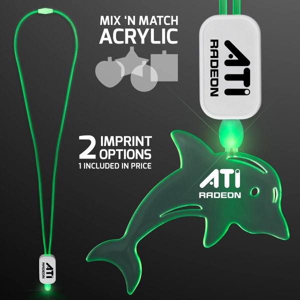 LED Neon Green Lanyards with Acrylic Dolphin Pendant