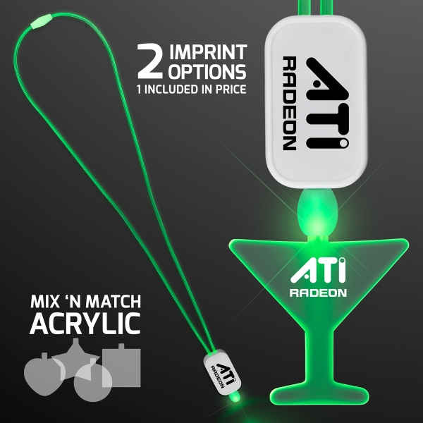 LED Neon Green Lanyard with Acrylic Martini Pendant