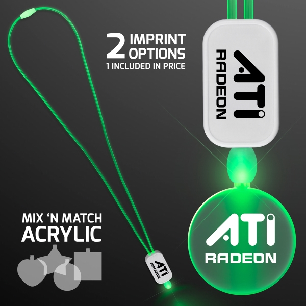 LED Neon Green Lanyards with Acrylic Circle Pendant