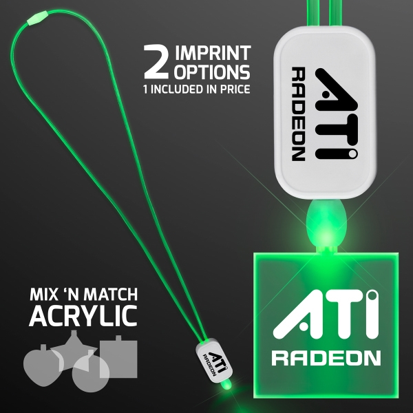 LED Neon Green Lanyard with Acrylic Square Pendant