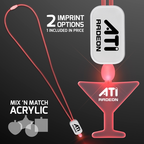 LED Neon Red Lanyard with Acrylic Martini Pendant