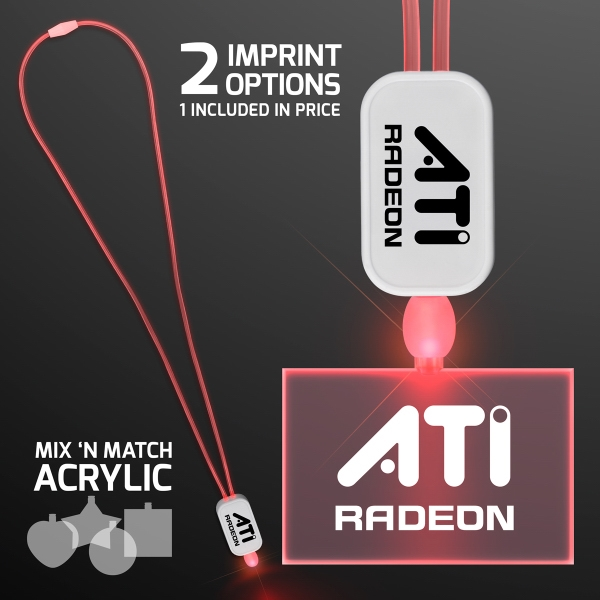 LED Red Lanyard with Acrylic Rectangle Pendant