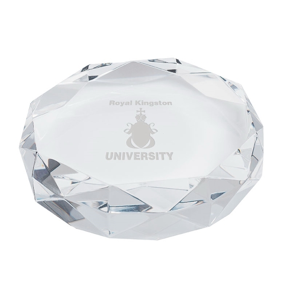 Gem Cut Crystal Paperweight - Crystal paperweight.