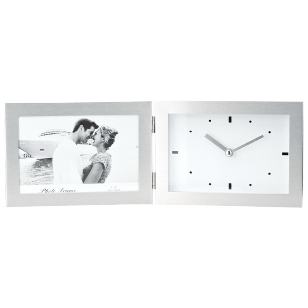 "Hinged 6"" x 4"" Frame and Clock"