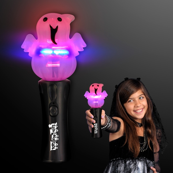 Happy Ghost Halloween Wand With Spinning Lights