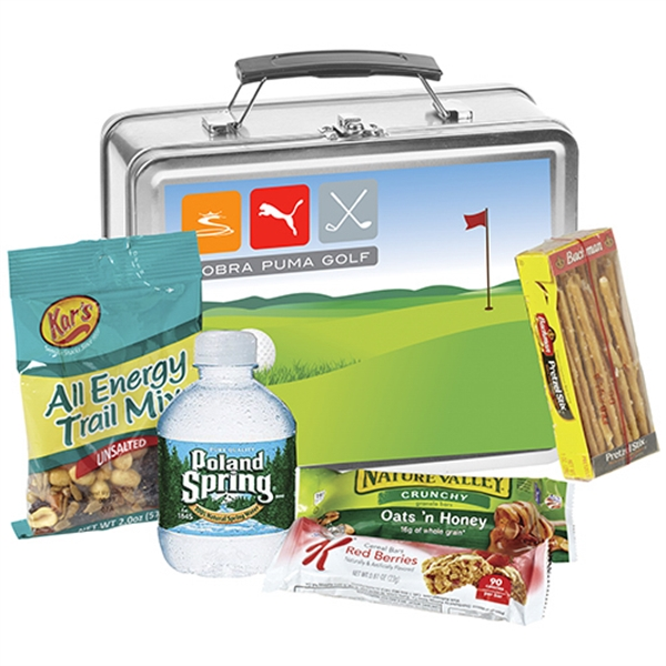 Metal Lunch Box With Snack Mix