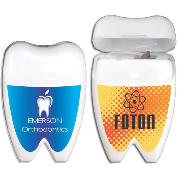 Tooth Shaped Dental Floss - Mint flavored dental floss in a tooth shaped holder.
