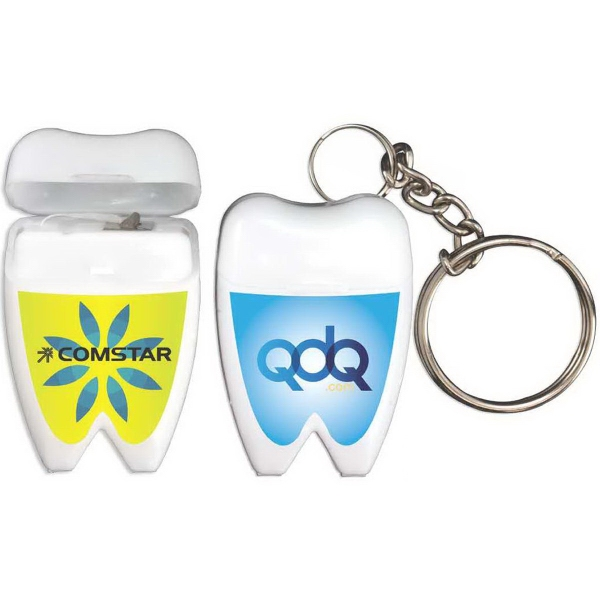 Tooth Shaped Dental Floss with Keychain