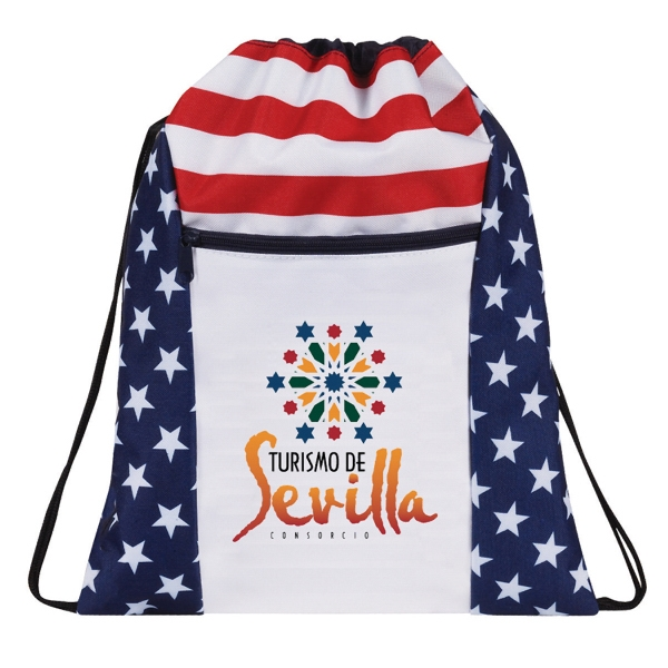 Patriotic Drawstring Backpack with zippered Front Packet