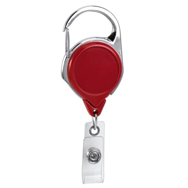 Blank Red No-Twist Carabiner Retractable Reel