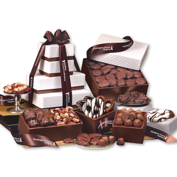 """The """"Park Avenue"""" Tower of Chocolate in Brown - white pillow-top tower filled with chocolates"""
