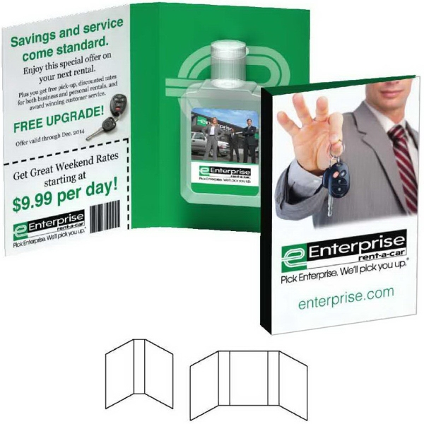 Booklet with 0.5 oz. Square Antibacterial Hand Sanitizer Gel