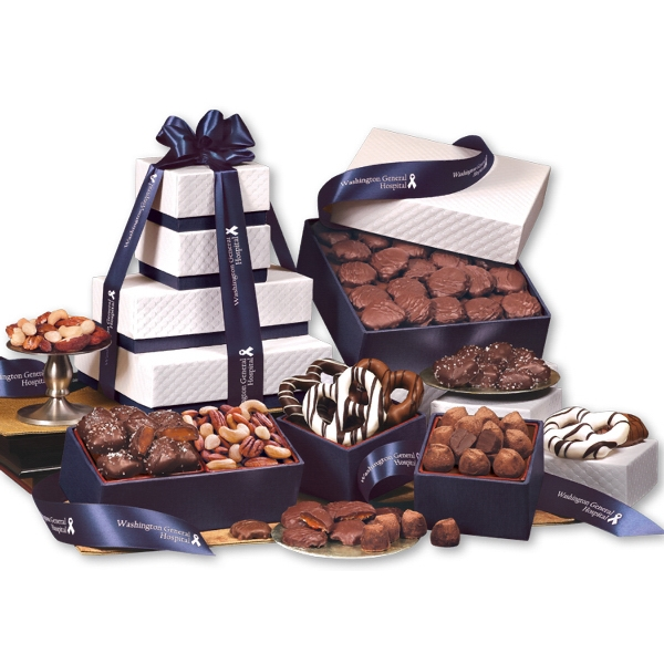 """The """"Park Avenue"""" Tower of Chocolate in Navy - white pillow-top tower filled with chocolates"""
