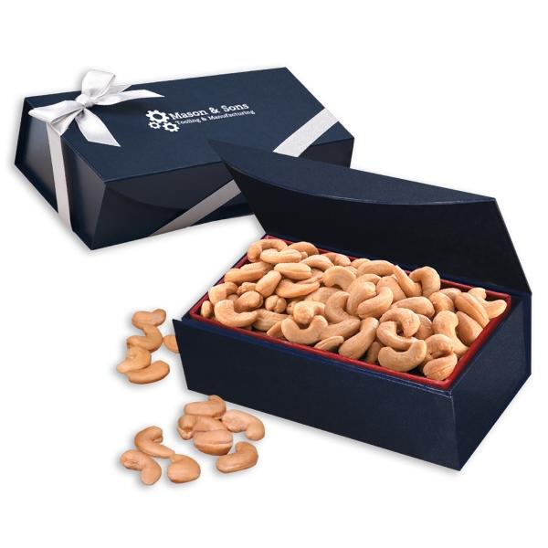 Extra Fancy Jumbo Cashews in Navy Magnetic Closure  Box - navy magnetic closure gift box filled with extra fancy jumbo cashews