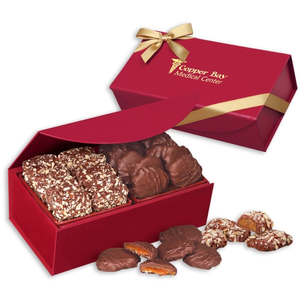 Toffee & Turtles in Scarlet Magnetic Closure Gift Box - deep red magnetic closure gift box filled with english butter toffee & pecan turtles