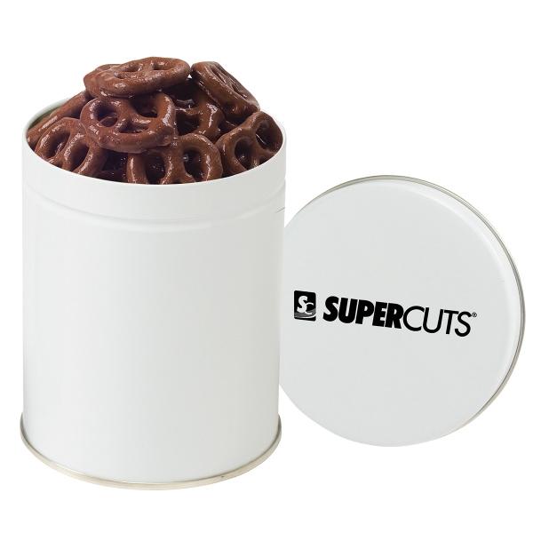 Round Quart Tin / Chocolate Covered Pretzels
