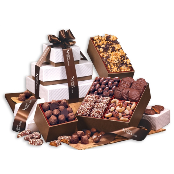 Park Avenue Tower of Sweets in Brown - white pillow-top tower filled with chocolates