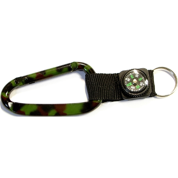 Camouflage Carabiner with Compass