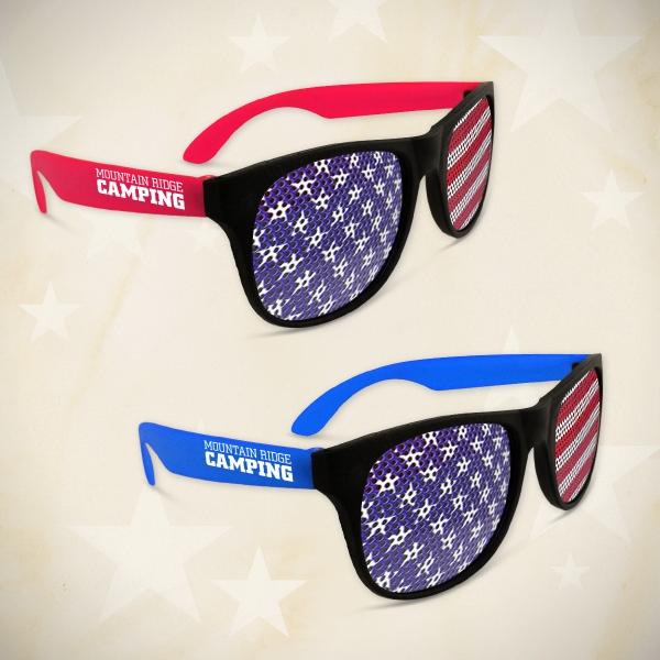 American Flag Neon Red Billboard Sunglasses