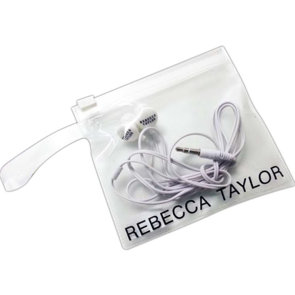 Earbuds in a Clear Pouch