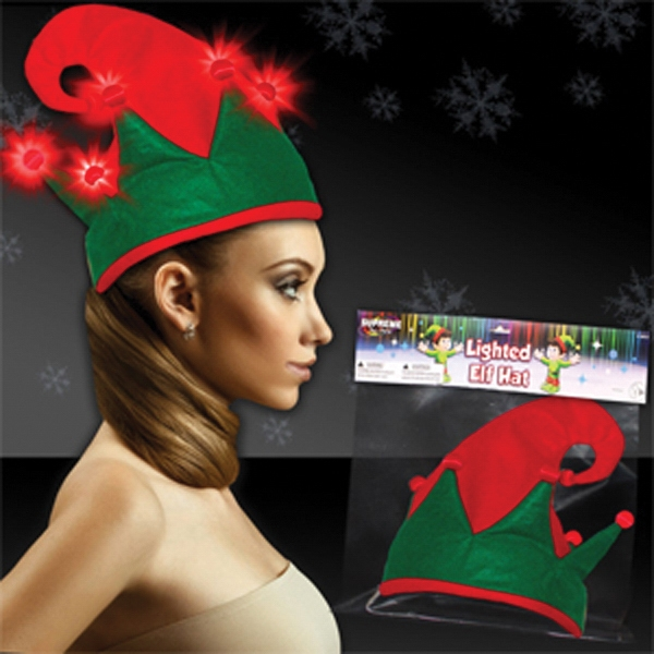 Light Up Hat - Christmas Elf - Red LEDs