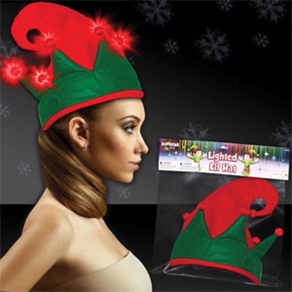 Light Up Hat - Christmas Elf - Red LEDs