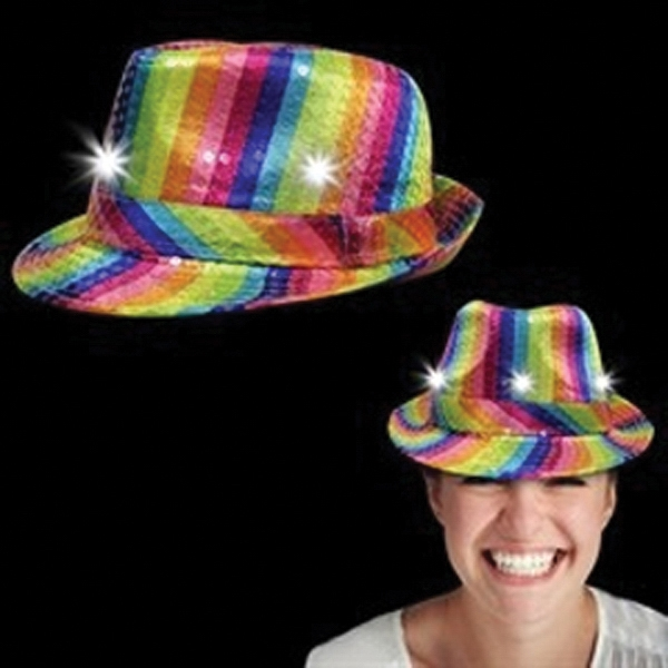 Light Up Hat - Rainbow Sequin Fedora - LED - Light Up Hat - Rainbow Sequin Fedora - LED